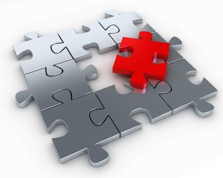 puzzle pieces: Puzzle-St�cke, mit einem roten St�ck freie