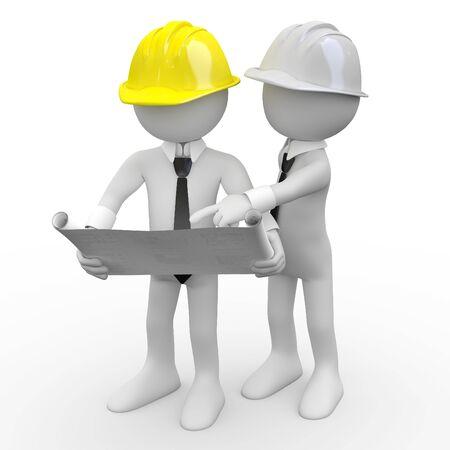 planos arquitecto: Arquitecto jefe mirando planes, mientras que otro arquitecto da explicaciones