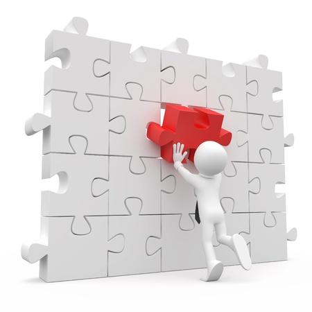 entreprise puzzle: Homme avec cravate, mettant sur un mur un morceau rouge manquant Banque d'images