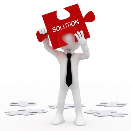 Man holding a red puzzle piece with the word, solution Stock Photo - 8748496