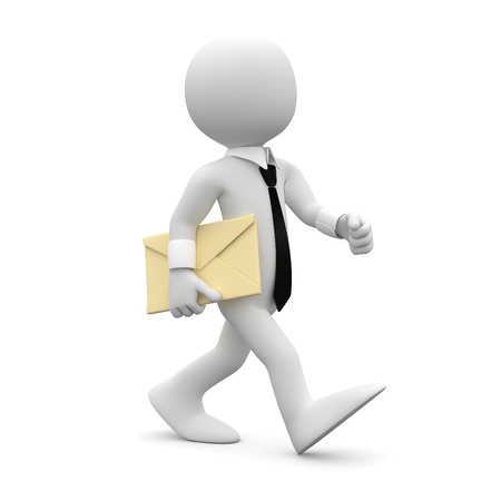 mail man: Man walking with suit and tie, with a letter under his arm Stock Photo