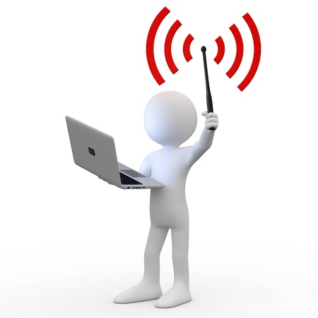wifi: Man standing with laptop and wifi antenna