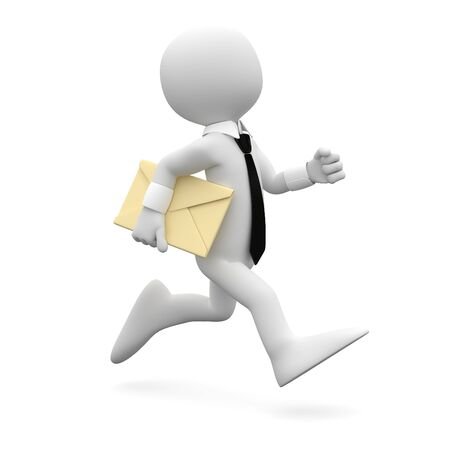 mail man: Man running with suit and tie, with a letter under his arm