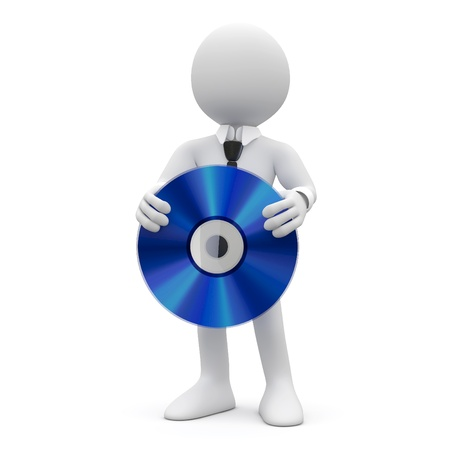 compact disk: Tie Man showing a huge blue cd