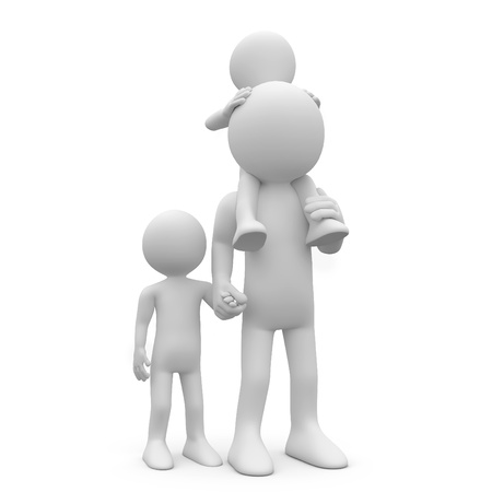 father and son holding hands: Father with his two sons, one of them on the shoulders Stock Photo