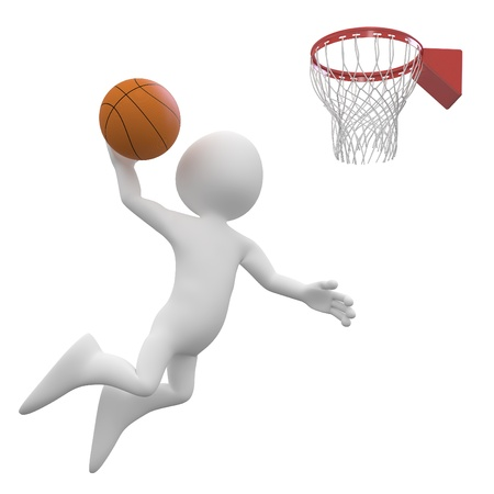 dunk: Basketball player making a dunk in the basket Stock Photo