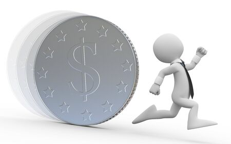A business man running from a huge coin with the dollar symbol photo