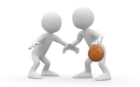 baloncesto: Dos jugadores de baloncesto que enfrent� en un uno contra uno Foto de archivo
