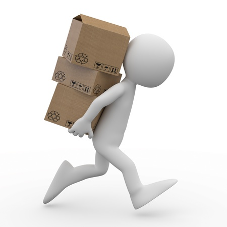 man carrying: Man running with several boxes in the back