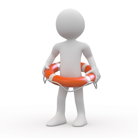 Man with an orange life preserver at the waist photo