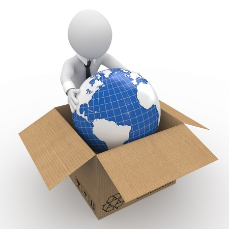 shipping package: Man keeping the Earth in a cardboard box Stock Photo