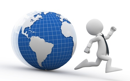 hombres corriendo: Hombre de negocios, huyendo de la tierra