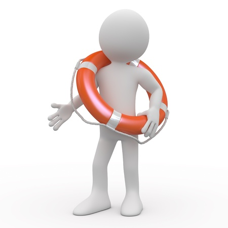 rubber ring: Man with an orange life preserver