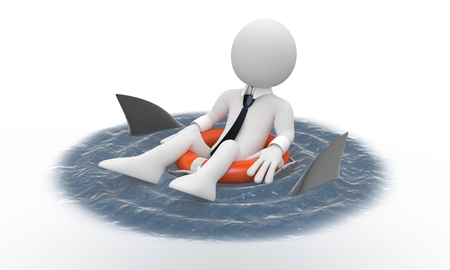 Businessman floating in a life preserver with sharks around photo