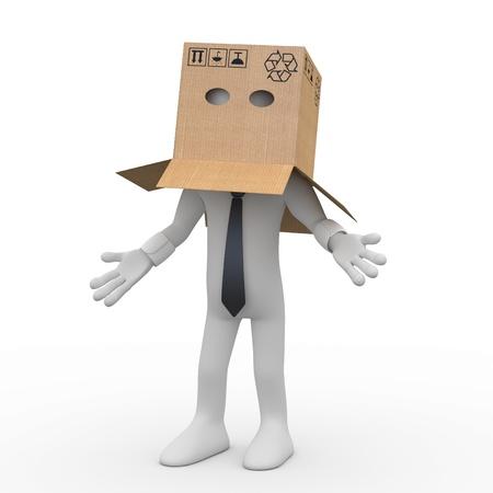 Unternehmer mit einem Karton über seinem Kopf Standard-Bild