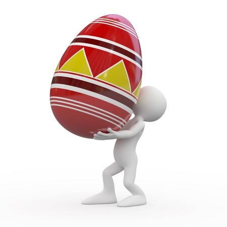 Man carrying a huge Easter egg Stock Photo - 9034452