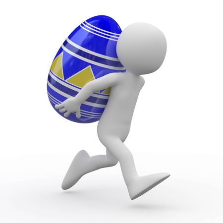 Man running with a huge Easter egg in the back Stock Photo - 9034454