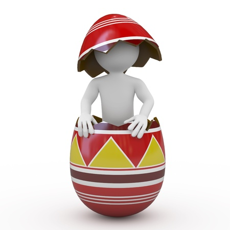 Man inside a huge Easter egg Stock Photo - 9034455