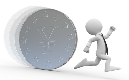A business man running from a huge coin with the yen symbol photo