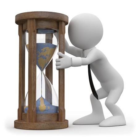 wait sign: A man watching an hourglass