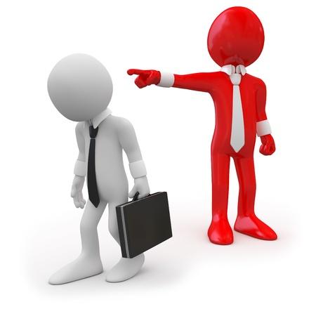 dismiss: Boss dismissing an employee Stock Photo