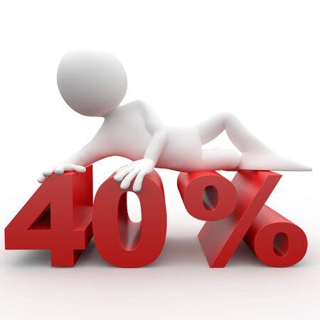 Man lying on the 40 percent photo