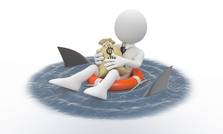 Businessman protecting his money from sharks photo