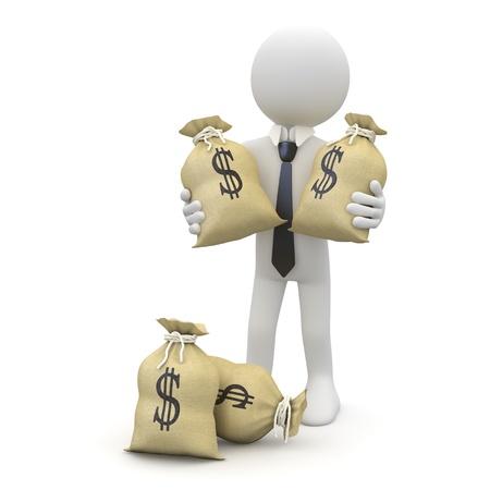 salarios: Empresario con bolsas de d�lares