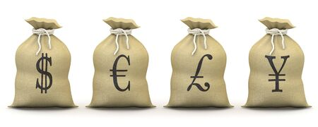 dinero euros: Bolsas de dinero con s�mbolos de d�lar, euro, libra y el yen
