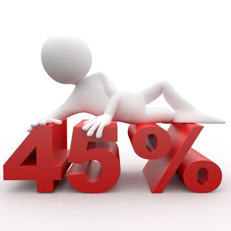 Man lying on the 45 percent photo