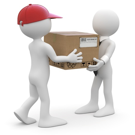 Worker delivering a package to a businessman photo