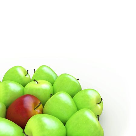 A red apple among many green apples photo