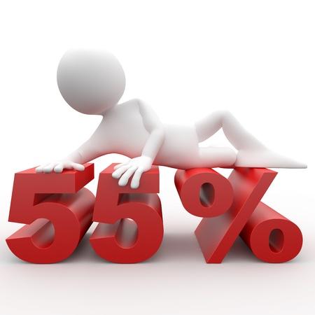 Man lying on the 55 percent photo