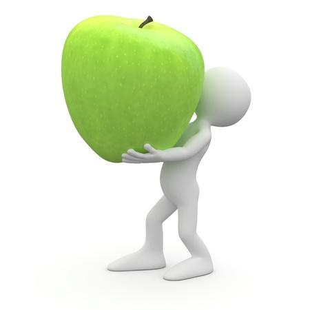 manzana caricatura: Hombre con una gran manzana verde