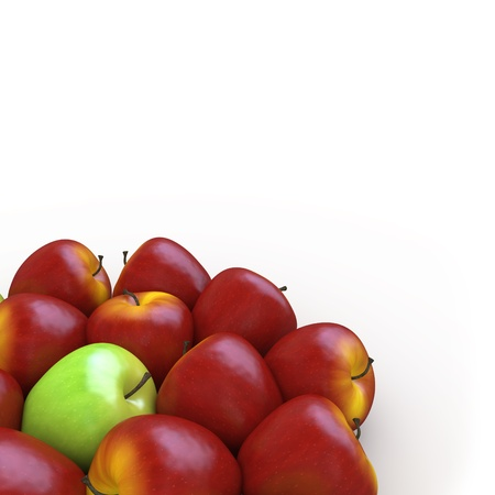 A green apple among many red apples photo