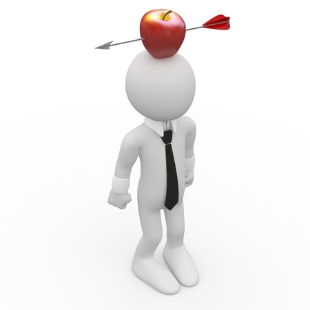 Frightened man with a red apple on the head with an arrow photo