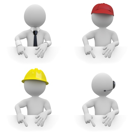fill in: Businessman, worker, architect and telemarketer, pointing down. Area to fill in with your text Stock Photo
