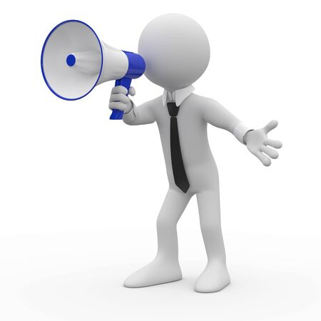 Man talking on a white and blue megaphone photo