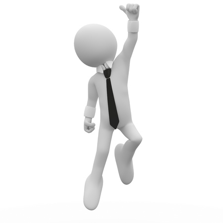 overjoyed: Businessman jumping for joy, with the thumb up