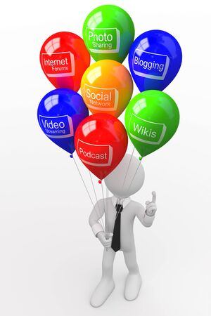 wikis: Man with a bunch of balloons, with words related to new technologies