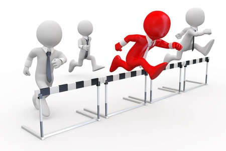 red competition: Businessmen in a hurdle race with the leader at the head