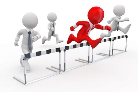 concurrencer: Les hommes d'affaires dans une course d'obstacles avec le leader � la t�te