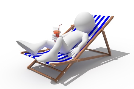 lounge chair: Tourist lying on a deck chair drinking a soda