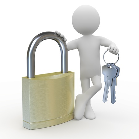 private access: Man leaning on a huge padlock with keys in hand Stock Photo