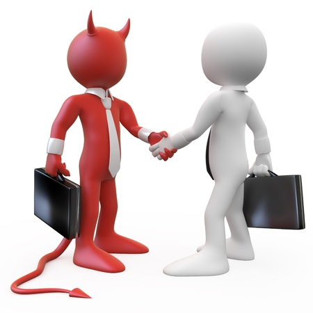 Devil closing a deal with a businessman photo