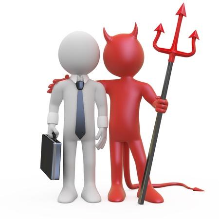 pacto: Diablo con un empresario que tiene un acuerdo Foto de archivo
