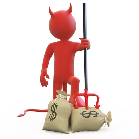 greedy: Devil with his trident stuck in sack of dollars