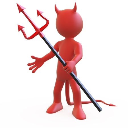 Devil posing threatening with his red and black trident photo