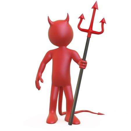 그의 붉은 색과 검은 색 삼지창과 함께 포즈를 취하는 악마 스톡 콘텐츠