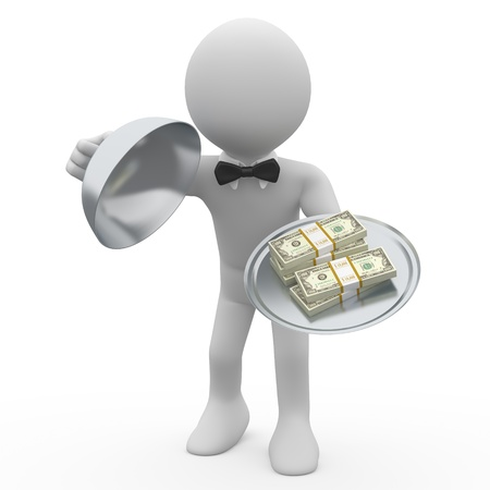 loans: Waiter serving tray five wads of dollars Stock Photo